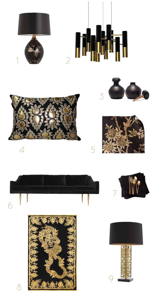 Black gold home accessories preciously me for Home decor accessories