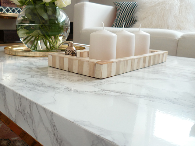 Preciously Me blog : DIY - Ikea Marble and brass coffee table
