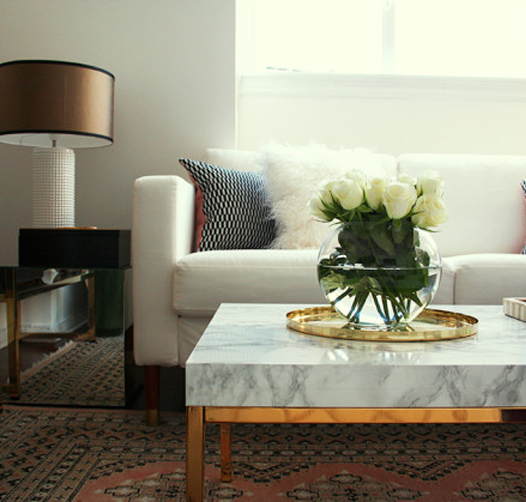 Preciously Me blog : DIY - Marble and brass coffee table