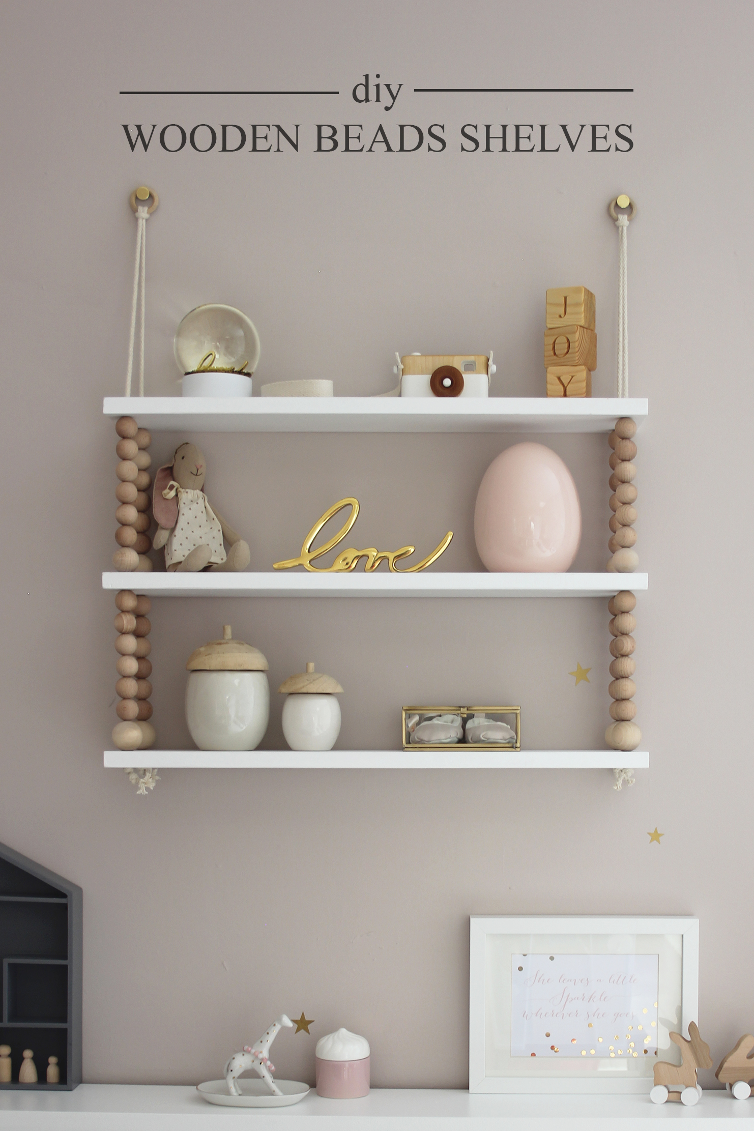 Preciously Me blog : DIY - Wooden Beads Shelves