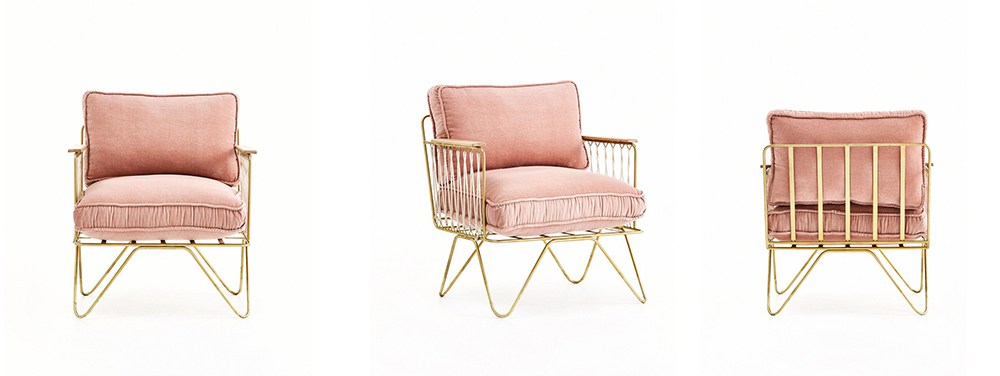 Preciously Me blog : Coup de Coeur Honoré Déco - Croisette armchair in Pink and Gold