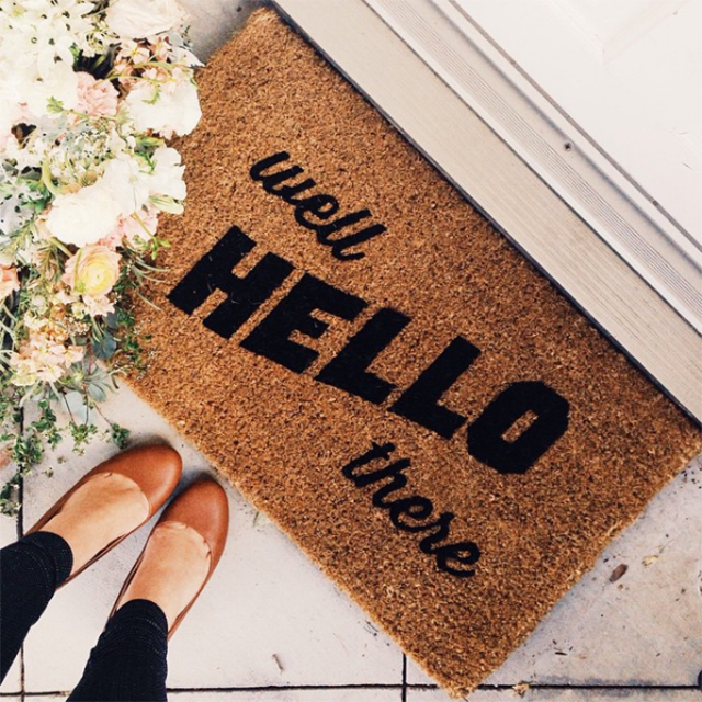Preciously Me blog : New home tour - West Elm door mat by Elyse Whall