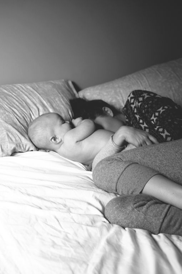 The Daybook : mom and baby in bed - So cute