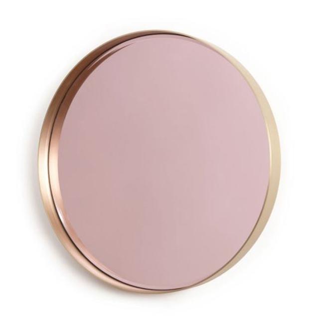Preciously me blog : La Vie en Rose miroir Hervé Langlais. Pink round brass mirror