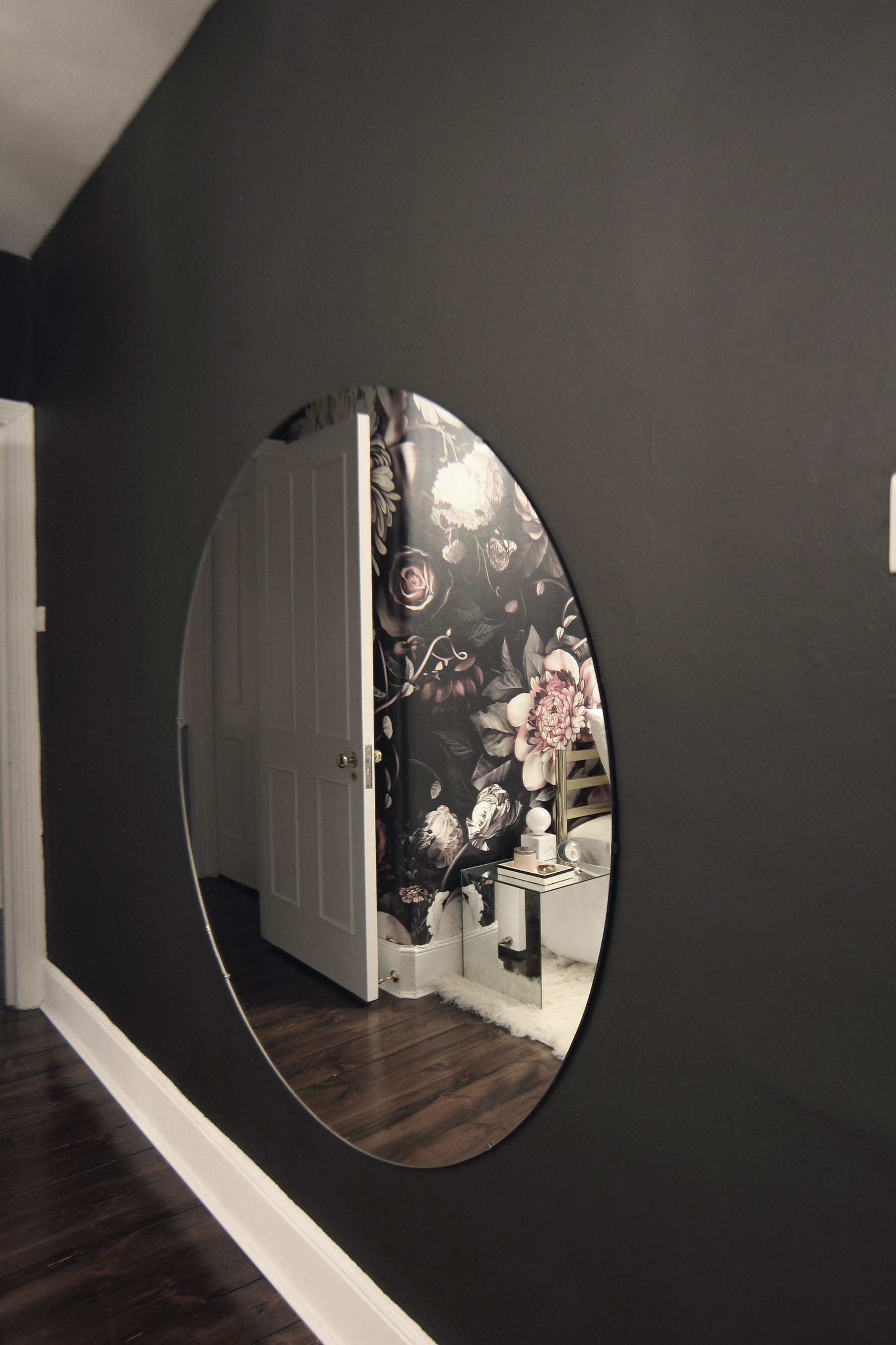 Preciously Me blog : One Room Challenge - Bedroom makeover reveal. Ellie Cashman Dark Floral wallpaper and Oversized round mirror
